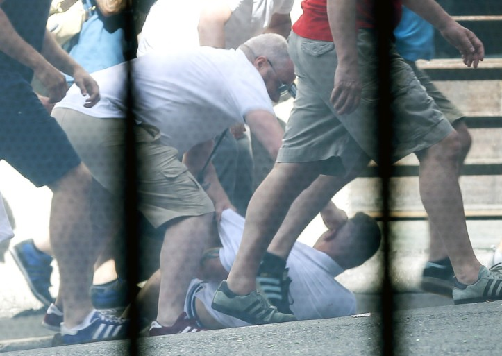 **GRAPHIC WARNING** FAMEFLYNET - Exclusive: England And Russia Football Fans Clash In Marseille
