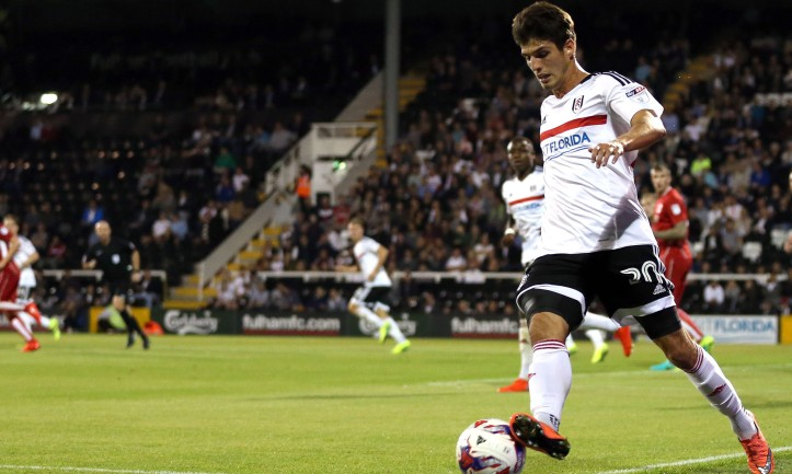 Lucas Piazon keeps the ball in play during the 3rd Round EFL Cup match between Fulham and Bristol City played at Craven Cottage, London on 21st September 2016
